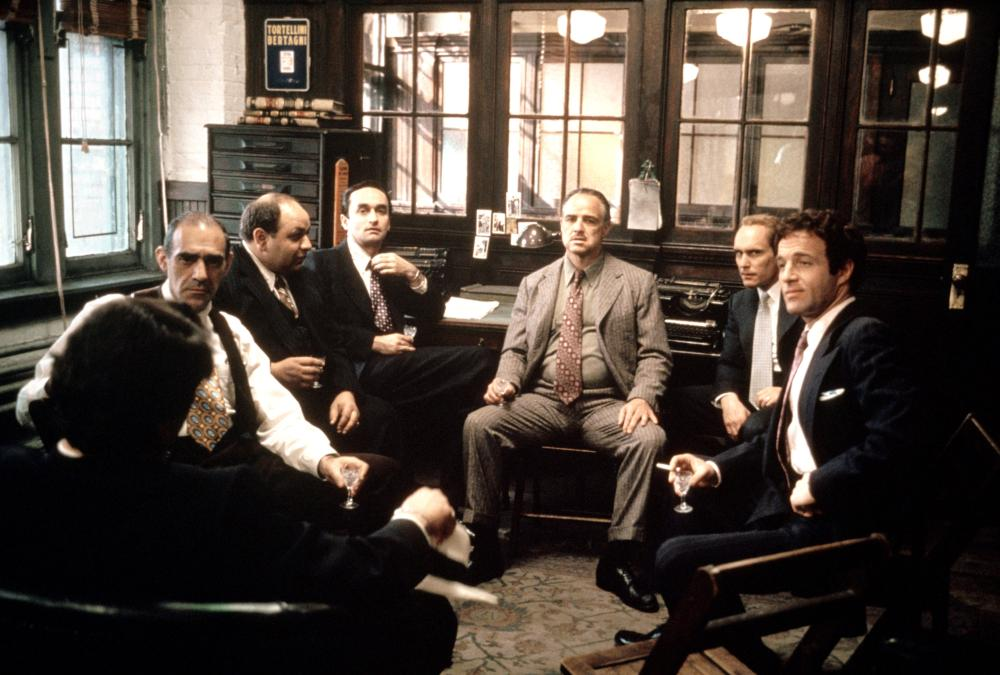 THE GODFATHER, Abe Vigoda, Richard S. Castellano, John Cazale, Marlon Brando, Robert Duvall, James Caan, 1972